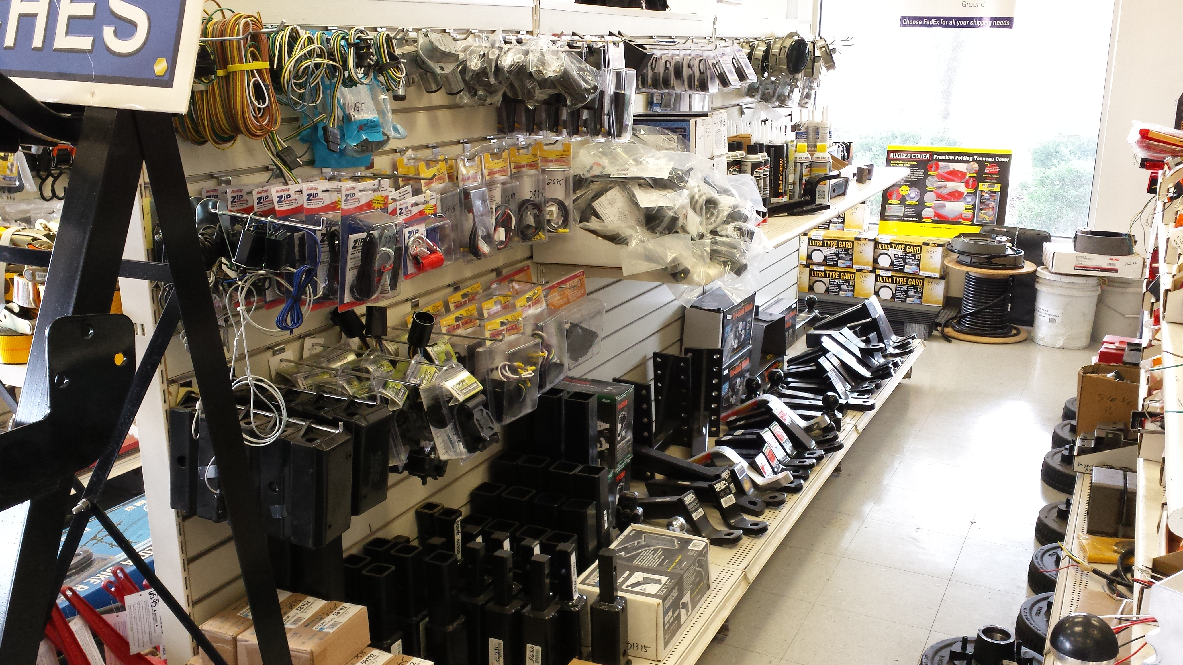 Full line of hitches, draw bars, balls and towing accessories