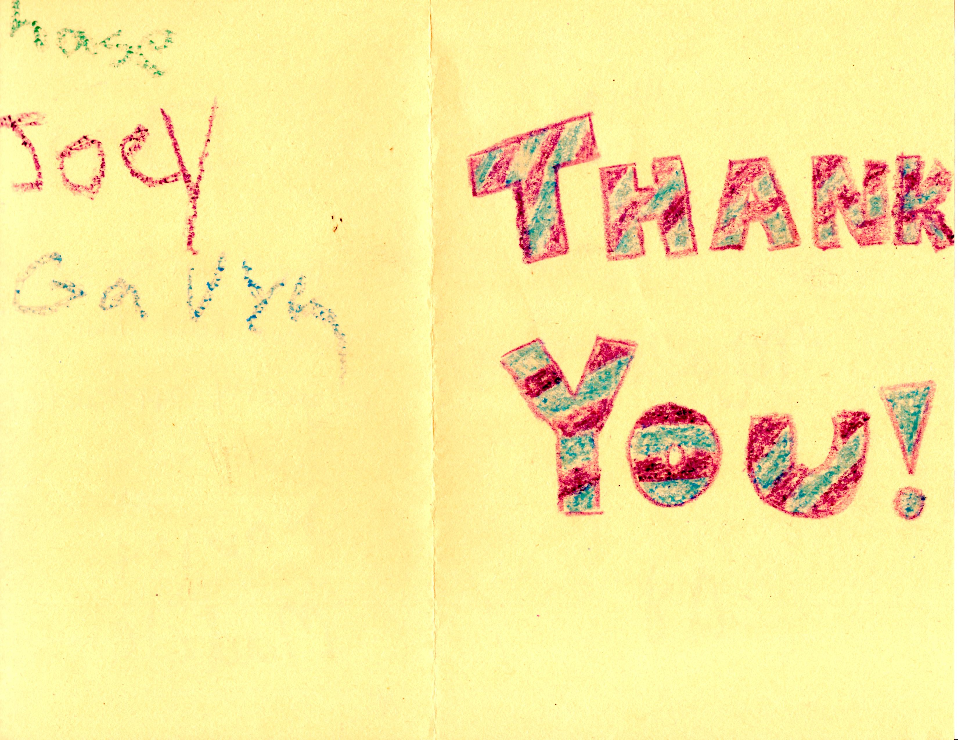 Front of Thank you card from MCAP