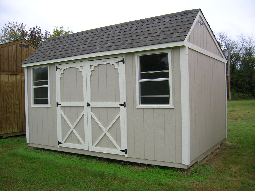 Attrayant Our Garden Shed Style Building Comes Standard With 2   2 Ft. X 3 Ft. Single  Pane Windows, Side Entry 6 Ft. X 6 Ft. Double Barn Style Doors And  Off Center U201c ...