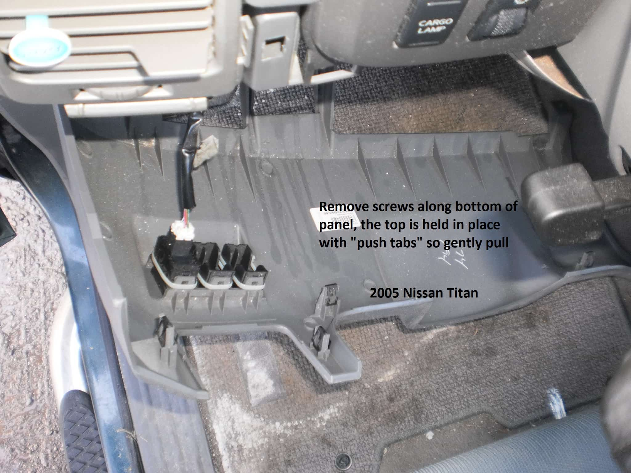 The connector is taped to a wire harness to the left of the steering  column. The easy way to get to it is to remove the plastic trim below the  steering ...