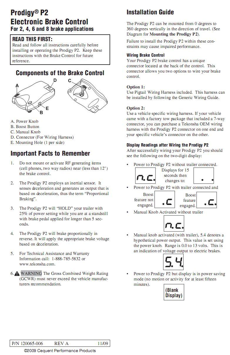 prodigy p2 90885 general brake controller information r and p rh randpcarriages com prodigy brake controller instruction manual prodigy brake controller instruction manual