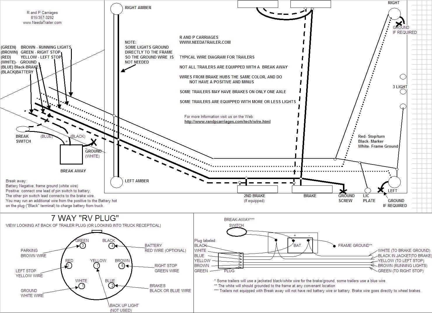 Wiring Trailer Clearance Lights 7 Way Plug Information R And P Carriages Cargo Utility Dump Diagram