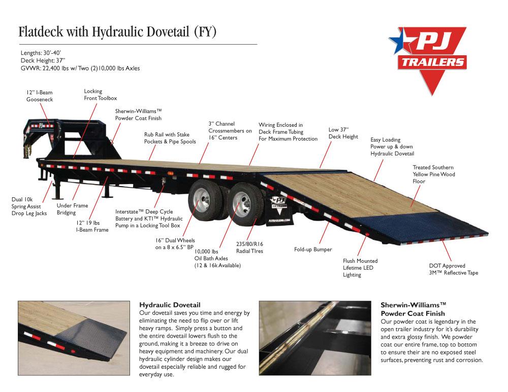 Flatdeck with Hydraulic Dove (FY) | Trailer Country Arkansas Trailer ...